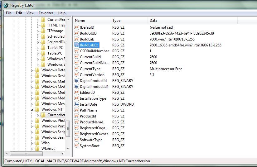 Find Windows 7 Build Number